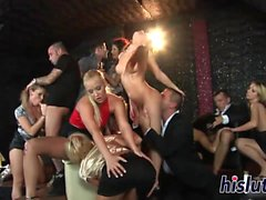 Foxy babes ride on massive meat poles