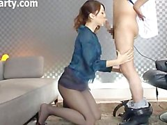 Japanese Woman In Black Pantyhose Gives Head