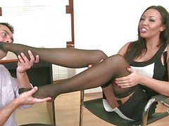 Hot secretary Rio Lee gets some extra pampering on her sexy tired feet