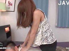 Jap gal in panties gets teased