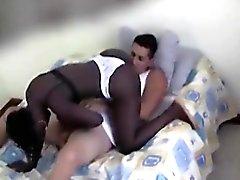 Muchacha que aspira el negro blanco Gallo en sus rodillas