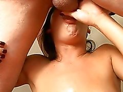 Babe receives her wicked mouth full of man protein