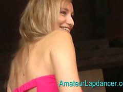 Young giggling blonde going for it
