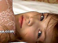 Petite 22yo girl teasing herself on bed