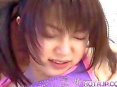 Ai Kousaki in long socks is pulled by hair w