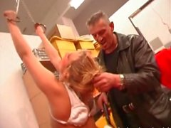 Horny blonde pleases her master