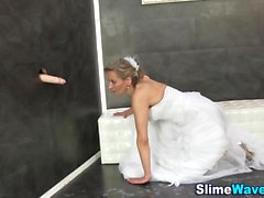 Bride rides gloryhole rod