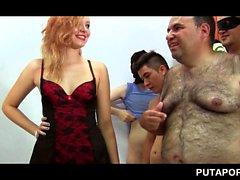 Wet blonde sucks dicks for bukkake in orgy