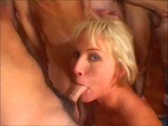 Two blondes swallow their pride for a dozen cocks