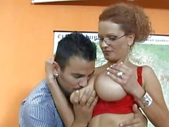 Sexy blonde teacher with big tits doing blowjob and titsjob