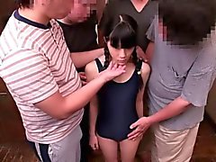 Japanese bukkake teen toyed by many pervs