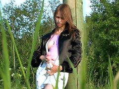 Beatas outdoor activities with huge vibrator