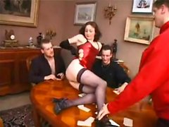 Cute slut gets gangbang fuck by large cocks that are black