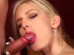 Frisky stunner gets jizz load on her face swallowing all the