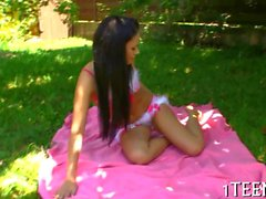 sexy brunette teen gets fingered in a backyard