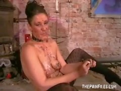Kinky Crystels hot wax punishment and self torturing bdsm of english fetish mode
