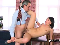 Erotic college girl is seduced and fucked by her older schoo