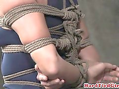 Box tied bondage treatment for useless bitch