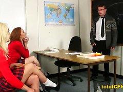 Schoolgirls jerking Teacher Cock