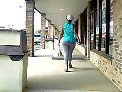 Phat Random Ass Walking In Gray Tights