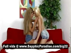 Adorable blonde lesbos licking and fingering pussy and having lesbo love