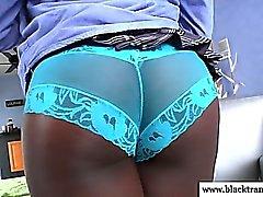 Nubian tgirl dildofucking her tight ass