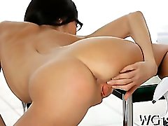 Hottie plays with dildo