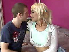 Big boobs blonde shemale Kim Bella gets her asshole fucked