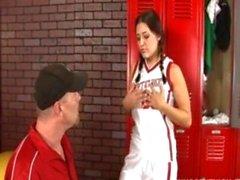 Horny teen fucked in the locker room by her PE teacher