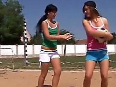Teen girl heaven Sporty teenagers tonguing each other