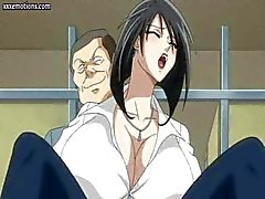 Busty anime babe is getting drilled by mad doctor and blows dude