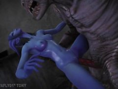 Draenei get creampie by a demon