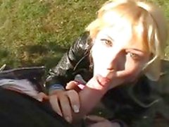 Nasty blonde chick fucked in the park