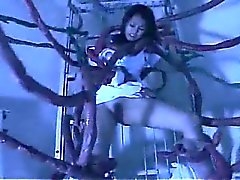 Hot asian nurse throating huge tentacle