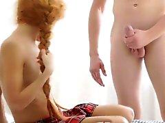 Teen beauty sucking dong
