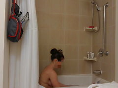 Wife spied in the bathroom, hidden cam