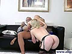 Classy babes threeway with horny old man