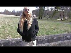 blond teen upskirt without panties