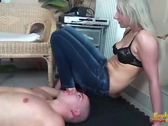 Beautiful blonde in bra and jeans facesitting her boyfriend