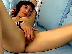 Cute Hairy Girl On Sofa BVR
