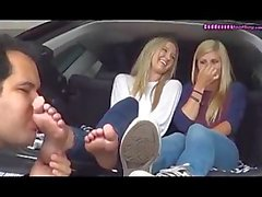 Worship 2 young blondes feet on the car