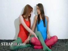 Hairy lesbians in nylon pants fucking