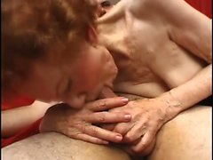 Old skinny granny gives head and gets hammered hard in a threesome