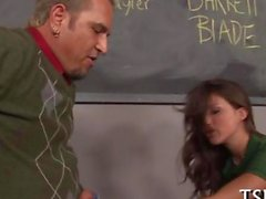 Teacher shafts his student at the school