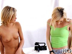 Slutty teen babes with bodies feel well at the casting