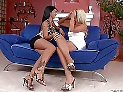 Busty lesbo bitch in black thongs gets her fanny eaten