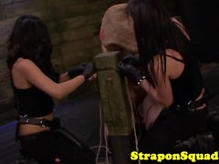 Lesbian sub strapon mouthfucked