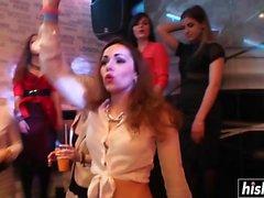 Mädchen auf einer Party saugen Schwänze
