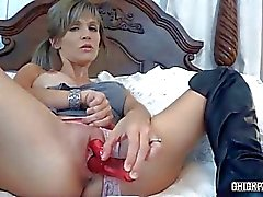 Horny MILF Jolene swallowing a cock