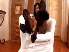 Hot brunettes and blondes with sexy stockinged feet gets fucked
